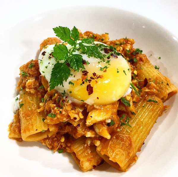 spanner crab rigatoni with onsen egg