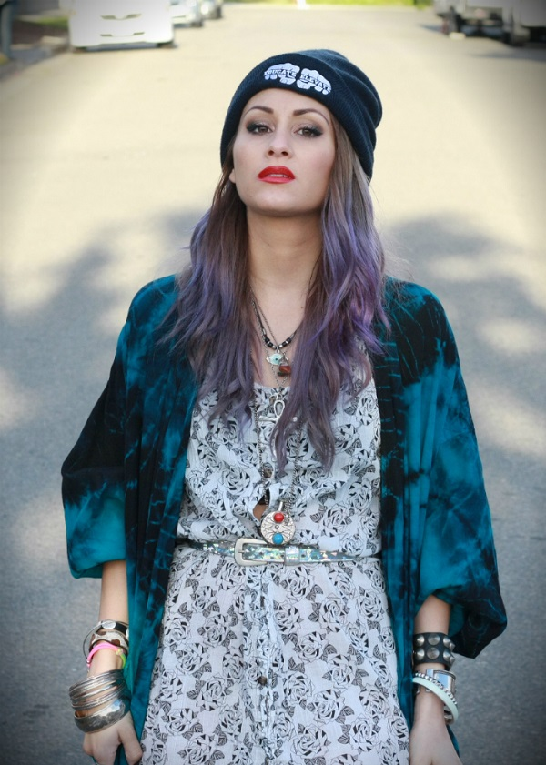 grunge style girl purple ombre